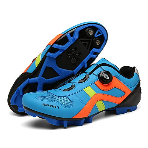 AGYE Scarpe da Ciclismo Uomo, Scarpe da Ciclismo MTB da Uomo,Scarpe da Mountain Bike da Donna Scarpe da Ciclismo Spin Compatibili,Blue-EU46