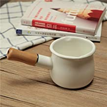 Milk pan electromagnetic furnace porcelain enamel butter pan single handle baby cooker saucepan small stewpot (Color : White)