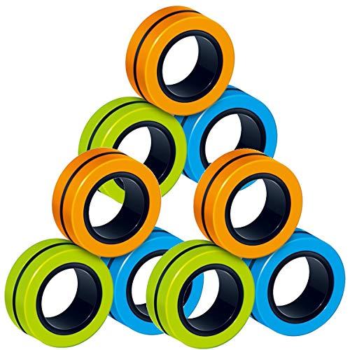 Fidget Spinner,9 Piezas Ideales Mini Anillos Magnéticos Antiestrés Toy,Adultos Finger Hand Spinner Descompresión Juguetes para Alivio del Estrés, TDAH, Ansiedad y Autismo