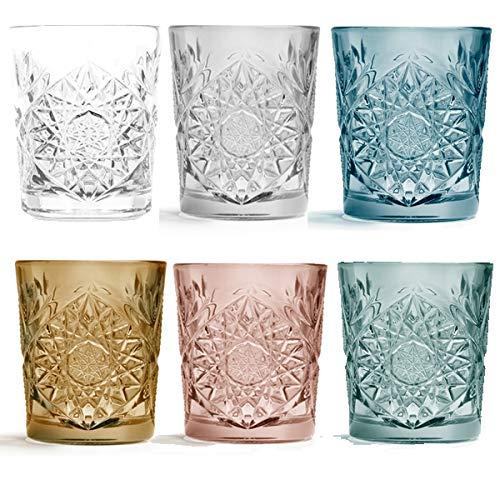 Libbey - Hobstar - Whiskyglas, Wasserglas, Saftglas - Bunt sortiert - 355 ml - 6er Set