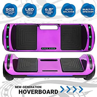 Newest Design Generation Electric Hoverboard Self-Balancing Dual Motors Two Wheels Hoover Board Smart Self Balancing Scooter with Built in Speaker LED Lights Adults Kids Gift (Shiny Purple)