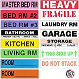 Tag-A-Room Moving Labels Color Coded (800 Count), 3-4 Bedroom Home Pack, Moving Supplies