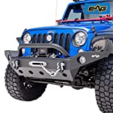 EAG Full Width Front Bumper with Winch Plate and D-rings Fit for 07-18 Wrangler JK Offroad