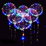 12 Packs LED Light Up BoBo Balloons Multicolor, 18 PCS Clear Bobo Balloons,3 Levels Flashing LED String Lights,20 Inches Bubble Helium Balloons,Christma/Wedding/Birthday Party Decorations