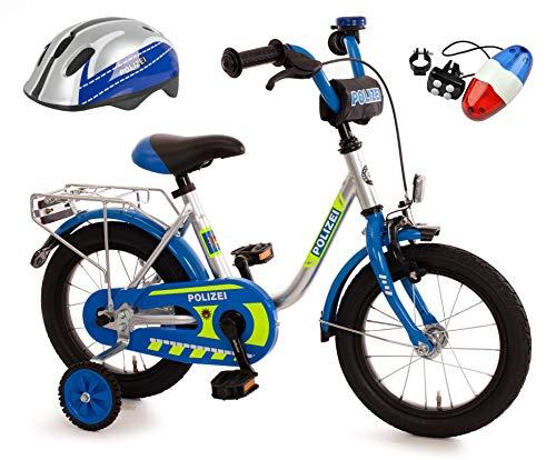 Bachtenkirch Kinderfahrrad Blau/Silber 14 Zoll Polizei mit Fahrradhelm & Sirene (411-PZ-40)