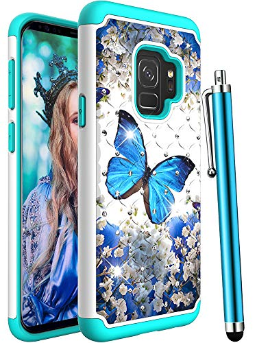CAIYUNL for Galaxy S9 Case, Shockproof Heavy Duty Hybrid Protective Bling Glitter Sparkle Studded Rhinestone Women Men Dual Layer Plastic & Silicone Phone Cover for Samsung Galaxy S9-A Blue Butterfly