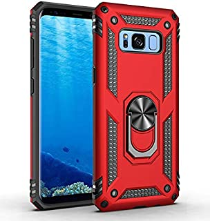 Samsung Galaxy S8 Case,Military Armor Unbreakable Swivel Ring Kickstand [Work with Magnetic Car Mount] Slim Shockproof Durable Cover Holster Compatible Samsung Galaxy S8 5.8 Inch Red