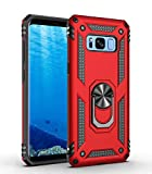 BestST Funda Samsung Galaxy S8+ Plus con Anillo Soporte,+ HD Protectores de Pantalla,2in1 Dura PC + Suave TPU Silicona Carcasa Híbrido Armadura Bumper Case Cover para Samsung Galaxy S8+ Plus -Rojo