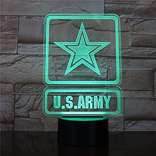 Luz nocturna 3D ilusión Luz Nocturna Infantil U.S. Army Military Gift Darling In The Best Birthday Holiday Gifts For Children Con interfaz USB, cambio de color colorido