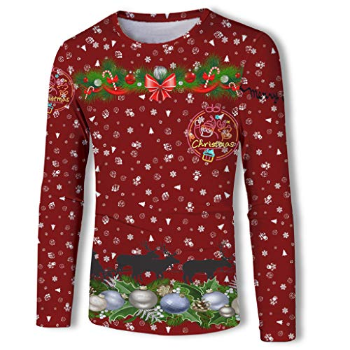 Review Mens Ugly Christmas T-Shirt, Garland Reindeer Print Crewneck Long Sleeve Top Blouse (L, Red)