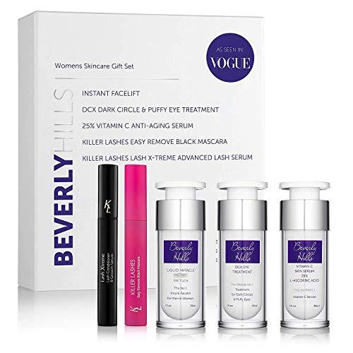 Skin Care Set for Women - Instant Facelift, Anti Aging Face Serum, Eye Cream for Dark Circles, Eyelash Serum, and Black Mascara