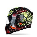 WWJJE Casque de Moto intégral ECEFlip Up Casque de Moto, Course Tout-Terrain, Motocross, pour...