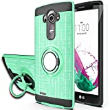 YmhxcY Compatible for LG G4 Case, LG G4 Case with HD Phone Screen Protector,360 Degree Rotating Ring & Bracket Dual Layer Resistant Back Cover for LG G4 (5.5' inch) 2015 Release-ZHH Mint