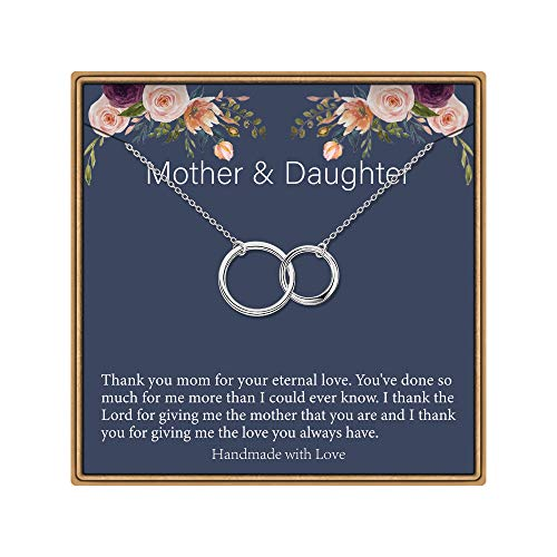 IEFLIFE Mother Daughter Necklace, Two Interlocking Infinity Double Circles Mother Daughter Gifts Mother Daughter Necklaces Mom Jewelry