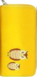 幸運のシンボル!ふくろう刺繍入りラウンド長財布 [ CUTT 5181 ] 誕生日プレゼント レディース 財布 (イエロー)