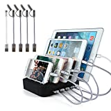 USB Charging Station Fast Charger - 5 Port Quick Charging Stand Multi-Device Charger for iPhone X, iPhone 8, iPhone 8 Plus, iPad, Galaxy S8, Tablets [Including 5 Pack Charging Cables] - OPAI(Black)