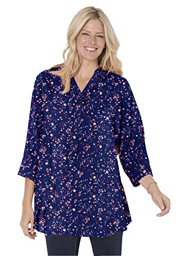 Woman Within Women's Plus Size Three-Quarter Sleeve Tab-Front Tunic - M, Navy All Over Ditsy