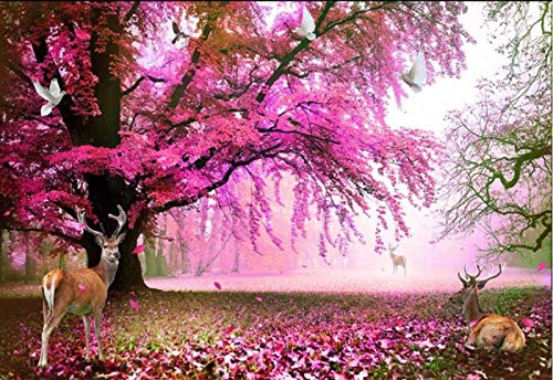 WEDSGTV Canvas Wall Picture Living Room Cherry Tree Moose Wall Pictures 3D Natural Landscape Wall Painting for Bedroom Office Wall Wallpaper Photo Wallpaper 200 x 150 cm,150x105cm-3Streifen