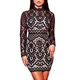 Natrendlis Women Long Sleeve Fashion Round Neck Pencil Bodycon Party Lace Dress Black XL (Apparel)