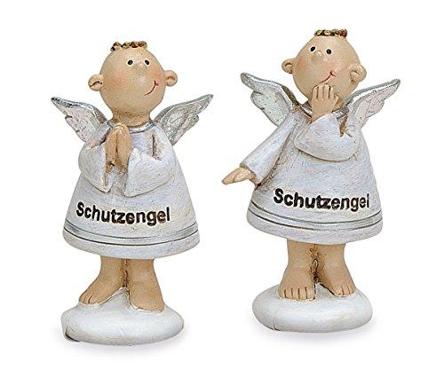 TEMPELWELT 2X Deko Engel Figur lustige Schutzengel Stehend im Set je 6 cm, Polystein Weiß Silber, Dekofigur Engelkinder Engelsfigur Geschenk Geburt Taufe
