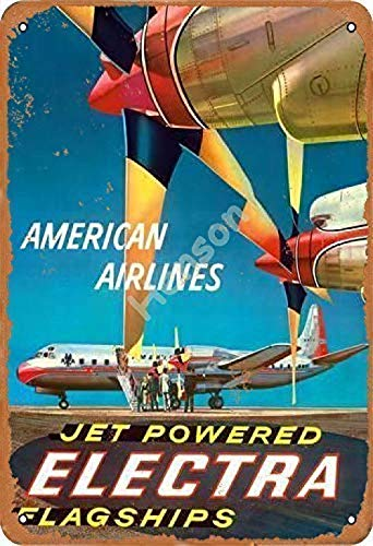 HOUJIA ZHONGMOU American Airlines Jet Powered Electra Flagships Vintage Metal Tin Sign...