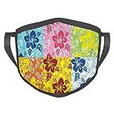 Komfortable, winddichte Maske, tropische bunte Blühende Hibiskusblüte, Sommermotive mit Blättern, bedruckte Gesichtsdekorationen für Erwachsene