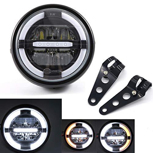 Fari moto Fari a LED universali da 7'' con luci di marcia diurna per Cafe Racer Bobber Chopper