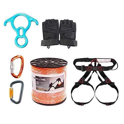 GJF Klettern Safety Seil-Set, Familienfeuer-Not-Seilausrüstung, Outdoor-Höhlen-Crossover-Erweiterung Survival-Kit, Luftaufnahme orange-100m