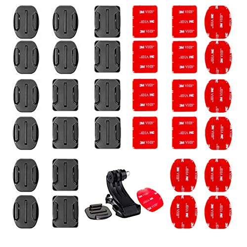 Accessori Gopro, 34 Pezzi Flat and Curved attacco adesivo casco per gopro and a J-shaped base, adesivo gopro per casco, Adatto per Action Camera GOPRO HeroSession/4/3/3+/2…