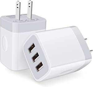 USB Charger Block,Multiport USB Plug in Wall Charger,2Pack Triple USB Wall Charger 3.1A 3-Port Power Adapter Charging Box Compatible iPhone 13 Pro 12,Samsung Galaxy,Motorola,LG,iPad,Oneplus,Android
