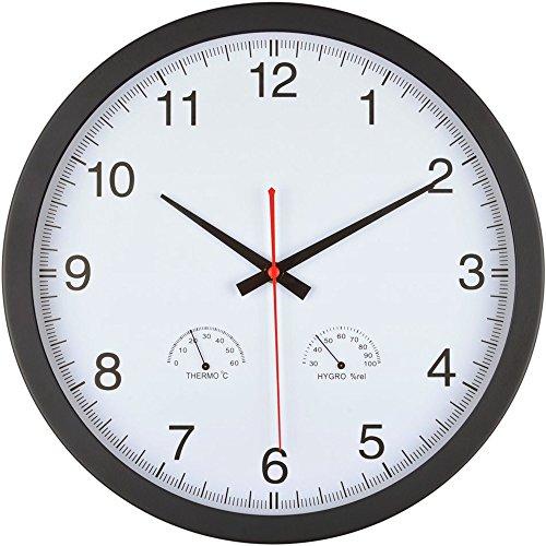 La Chaise Longue 36-1H-019 Horloge Murale Ronde Thermomètre Hygromètre Blanc et Noir ABS et métal D35 x 4,5 cm