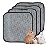 Amakunft 4 Pack of Waterproof Reusable Guinea Pig Pads Small Animal Fleece Cage Liners 12'x12' Super Absorbent Rabbit Bedding Pad
