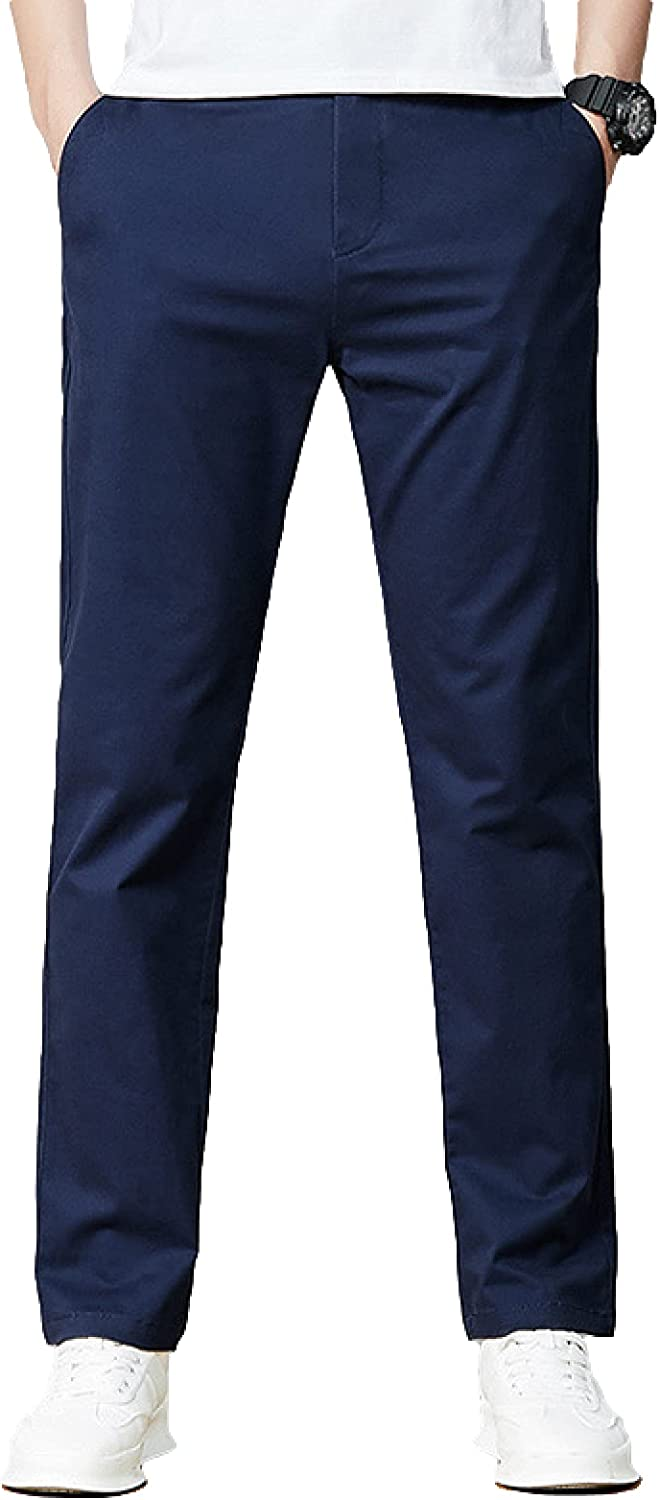 Men's Casual Pants Autumn Trend Pure Color Straight Simple Excellence Slim Max 57% OFF