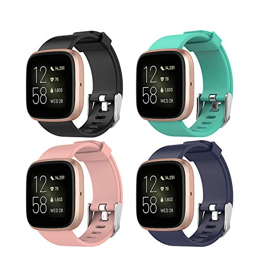 Hianjoo Strap Compatible with Fit Bit VersaVersa 2 4 Pack Adjustable Sport Accessory Wristband Bracelet Replacement for Fit Bit VersaVersa 2 Small 55 67 Black Pink Dark Blue Lake Green