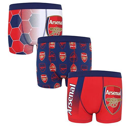 Arsenal FC - Jungen Boxershorts mit Vereinswappen - Offizielles Merchandise - Geschenk für Fußballfans - 3 Paar - Mehrfarbig - 7-8 Jahre