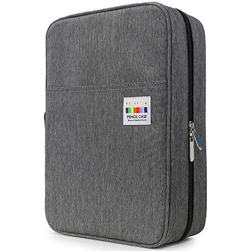 YOUSHARES Big Capacity Colored Pencil Case - 300 Slots Large Pen Case Organizer with Multilayer Holder for Prismacolor Colored Pencils & Gel Pen (Grey)
