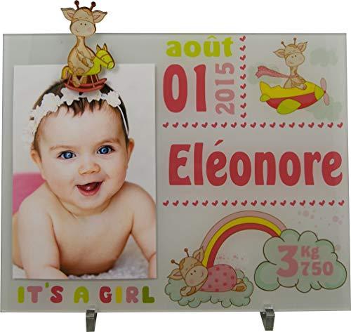 Cadre Photo Naissance - Cadeau de Naissance personnalisé avec le prénom du bébé – idéal pour la liste de naissance – pour fille – Kd-M