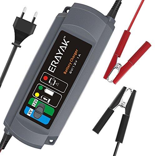 Erayak Batterieladegerät 6V/12V-1A Autobatterie 8 Schritt Ladegeräte für 2-40AH Batterie Auto, Motorrad, Wohnmobil, Rasenmäher (Grau-1A)