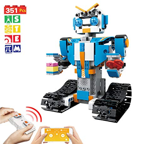Bix Robot Building Blocks Set- Remote Control App-Enabled Educational Bricks STEM Learning Building Toys Kits for Boys Girls 5-14 Year Old(351 Pieces)