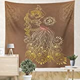 Hoooottle Wall Tapestry Indoor Home Decoration Beautiful Girl Belly Dance Geometric Kaleidoscope Medallion Wall Hanging Bedroom Living Dorm Room Art 59.1 x 59.1 Inches