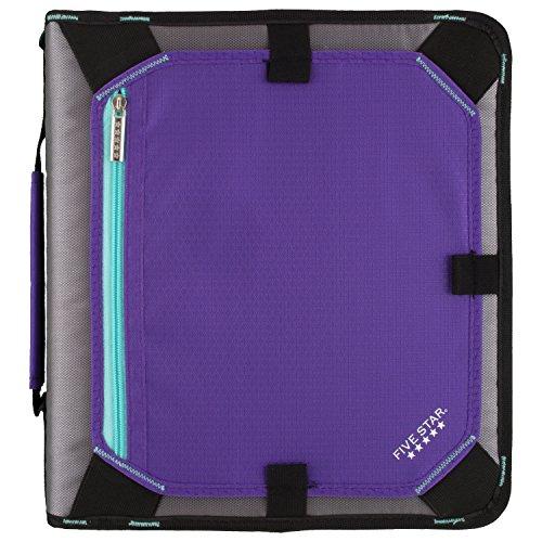 Five Star Zipper Binder, 2 Inch 3 Ring Binder, Expansion Panel, Durable, Purple/Black/Aqua/Gray (29052BD7)