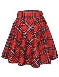 MUADRESS 9004 Falda Retro Mujer Plisada Traje de Baile escocés Oficina Escuela Falda Acampanada Swing Skater Girl Azulejos Rojos XL