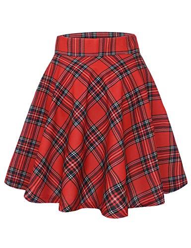 MUADRESS 9004 Falda Retro Mujer Plisada Traje de Baile escocés Oficina Escuela Falda Acampanada Swing Skater Girl Azulejos Rojos S