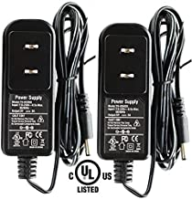 2pack AC 100-240V to DC 5V 2A 2000mA 10W Power Supply Adapter Barrel Plug 5.5mm x 2.1mm UL Listed FCC for IP Camera IPC and More