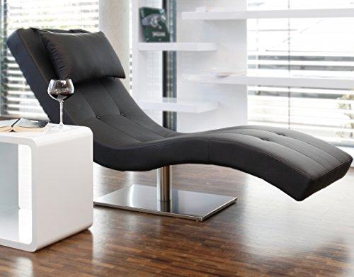 Designer-Liege Chaise-Longue aus Kunstleder schwarz mit vernickeltem Gestell | Siara | Relax-Liege zum Entspannen aus hochwertigem Kunstleder schwarz | Moderner Liege-Sessel für Ihr Wohnzimmer