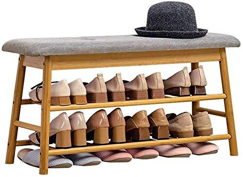 Zapatero Esponja Cojín tirón de Almacenamiento de bambú Banco Zapato de 3 Capas Plataforma Fácil de Instalar cojinete 120 kg Peso (Size : 83x27x44cm)