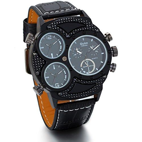 JewelryWe Herren Armbanduhr, Analog Quarz, Fashion große Casual Sport Leder Armband Uhr mit Schwarz 3 Zeitzonen Zifferblatt