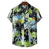 Shirt Hombre Transpirable Regular Fit con Cuello En V Moda Estampada Hombres Shirt Ocio Bolsillos De Verano Tapeta con Botones Shirt Playa Manga Corta Moderna Hawaii Hombre T-Shirt E-XH38 XL