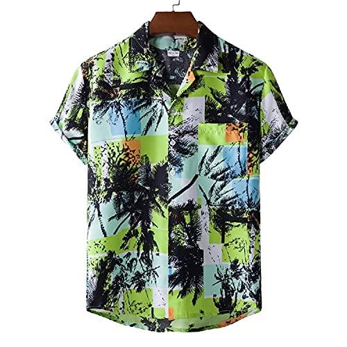 DDZYQ Casual Camicie Uomo Moderno Stile Hawaiano Scollo V Uomo Maniche Corte Sportiva Shirt Estate Sciolto Abbottonata Uomo T-Shirt Casual Vacanza Spiaggia Shirt E-XH38 3XL