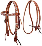 CHALLENGER Horse Western Leather Pony Amish Tack Headstall Bridle Reins Turquoise 78180TR
